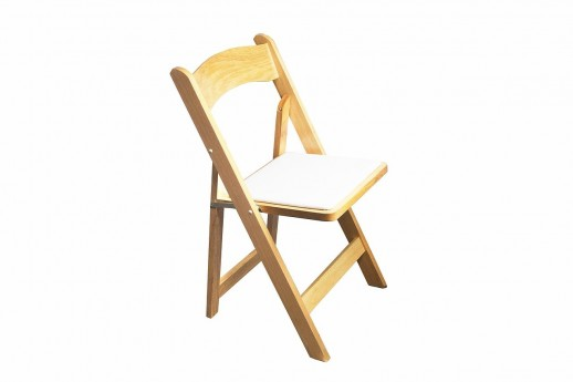 Natural Wood White Pad Folding Chair