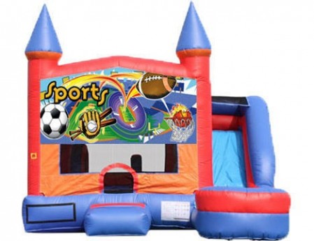 6-in-1 Castle Combo with Slide - Sports (Dry)