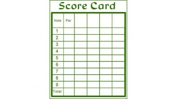 Holes 1-9 Mini Golf Score Card Purchase
