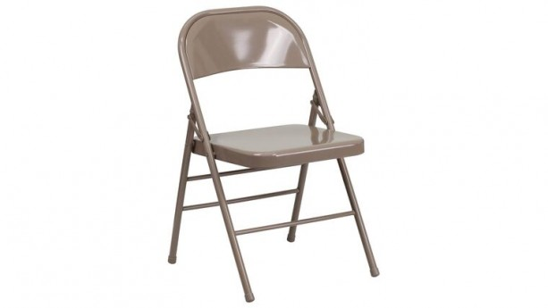 Beige Metal Folding Chair With Resin Seat