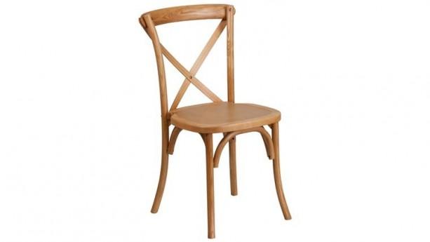 Oak Wood Cross Back Chair Rental