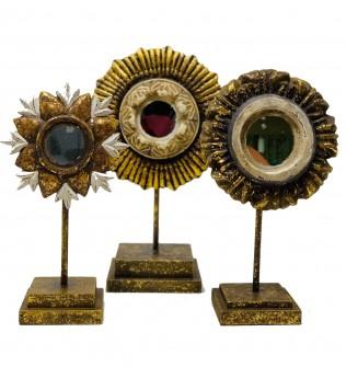 Sara Starburst Pedestal Mirror Trio