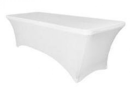 8' Long Table Cover (Spandex/White)