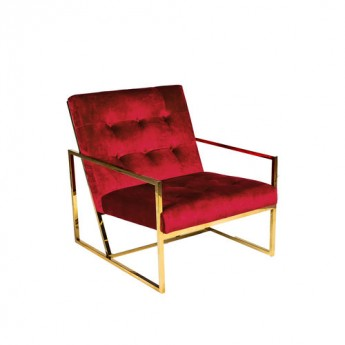 PALADIN LOUNGE CHAIR- Rouge & Gold Chrome